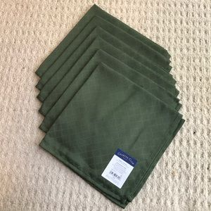 Forest green brocade napkins - 6 cotton blend